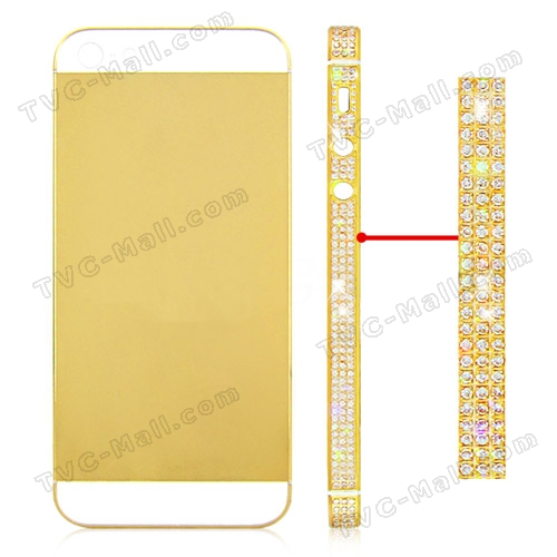 Iphone 5 gold rhinestone back cover middle frame