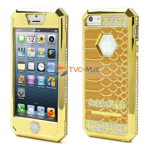 Iphone 5 diamond bumper leather case