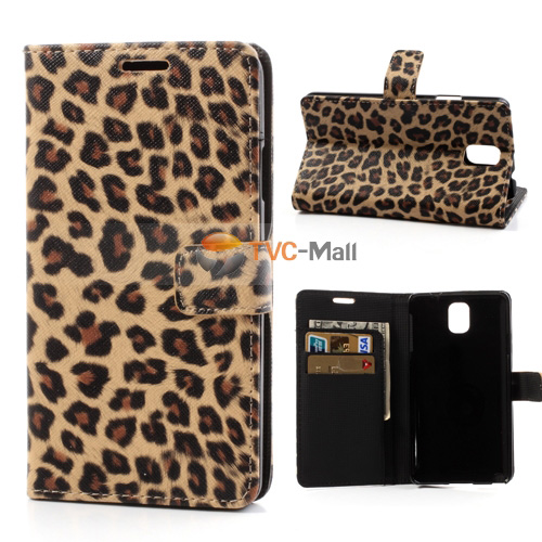 Galaxy note 3 leopard leather wallet case