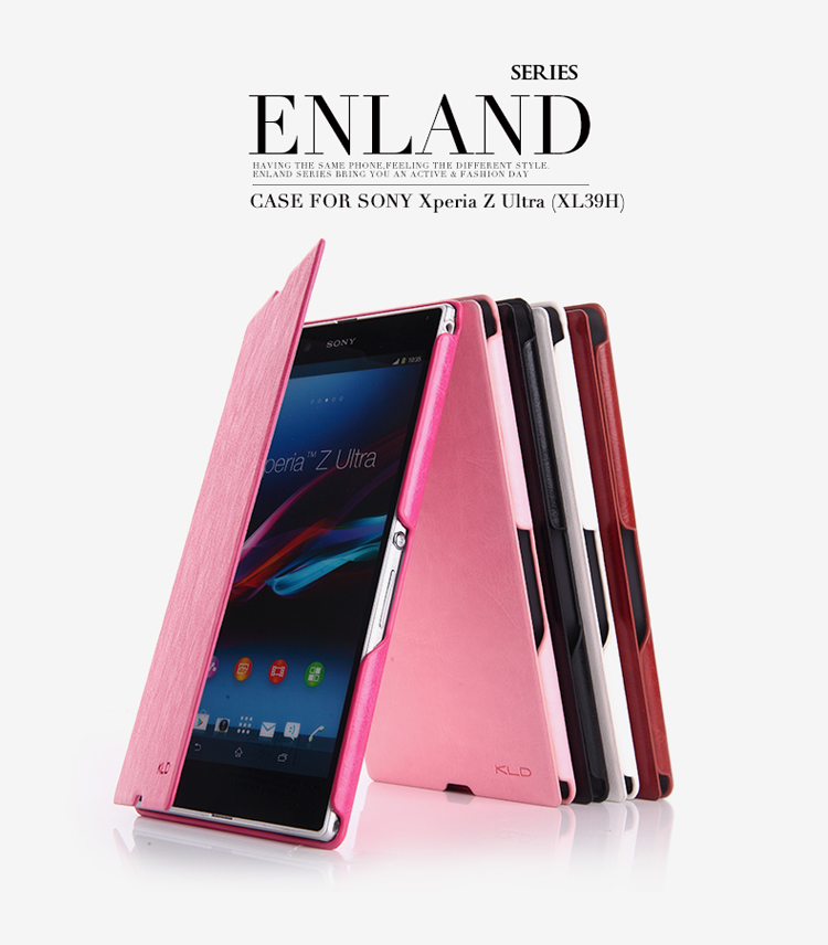 KLD england series leather folio case for xperia z ultra